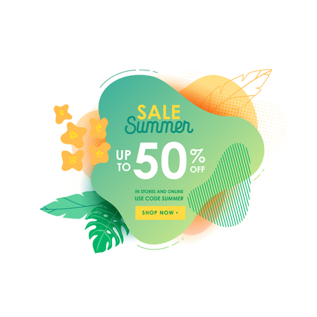 Summer sale banner template. Liquid abstract geometric bubble with plumeria flowers, Tropical background and backdrop, Promo badge for seasonal offer, promotion, advertising. Vector illustration