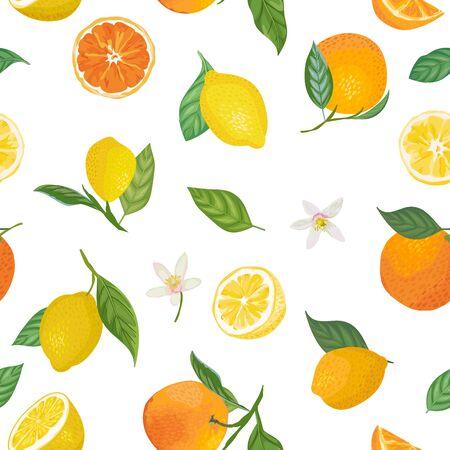 Reticolo senza giunte di limone e arancia con frutti tropicali, foglie, fiori sfondo. Illustrazione vettoriale disegnata a mano in stile acquerello per copertina romantica estiva, carta da parati tropicale, texture vintage Vettoriali