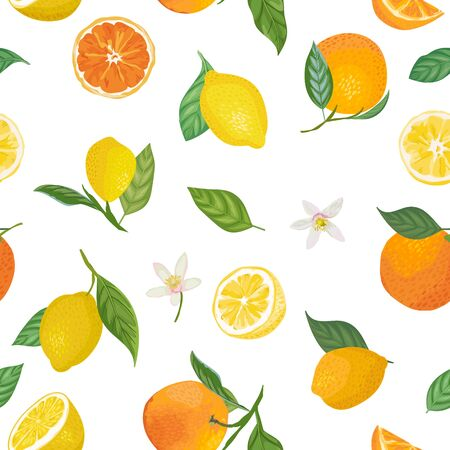 Seamless Lemon and Orange pattern with tropic fruits, leaves, flowers background. Hand drawn vector illustration in watercolor style for summer romantic cover, tropical wallpaper, vintage texture Vector Illustratie