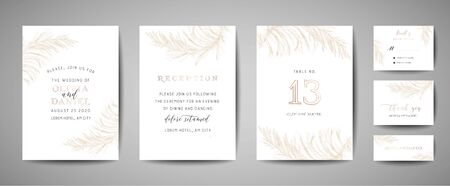 Pampas Grass Vintage Wedding Save the Date, Invitation Floral Cards Collection with Gold Foil Frame. Vector trendy cover, graphic poster, retro brochure, design template