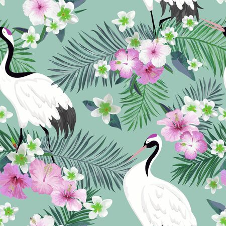 Seamless Pattern with Japanese Cranes and Tropical Flowers, Retro Bird Background, Floral Fashion Print, Birthday Japanese Decoration Set. Vector Illustration
