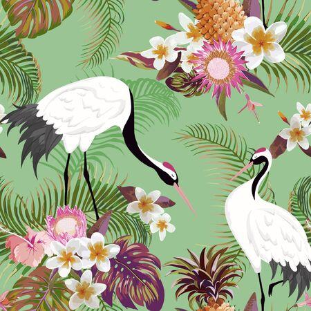 Patrón sin fisuras con grullas japonesas y flores tropicales, fondo floral retro, estampado de moda, conjunto de decoración japonesa de cumpleaños. Ilustración vectorial