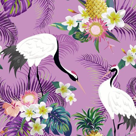 Seamless Pattern with Japanese Cranes and Tropical Flowers, Retro Floral Background, Fashion Print, Birthday Japanese Decoration Set. Vector Illustration Ilustração