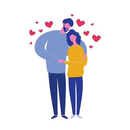 Hugging boyfriend and girlfriend isolated on white background with hearts. Valentines Day Card of lovers. Cute young romantic couple in love cuddling. Vector illustration in flat cartoon style