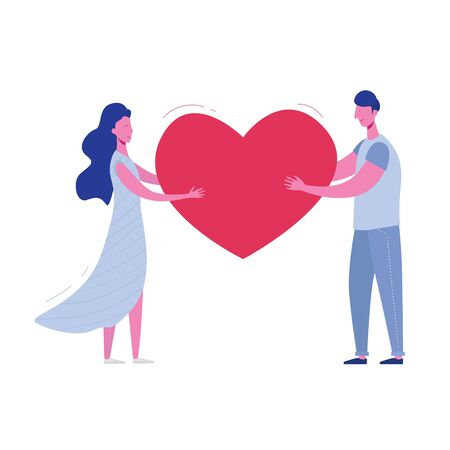 Boyfriend and girlfriend holding heart. Valentines Day Card of lovers, man and woman. Cute young romantic couple in love cuddling. Vector illustration in flat cartoon style