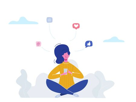 Vector concept woman character chatting on phone in social media, network bubbles. Illustration design for web banner, marketing material, business presentation, online advertising