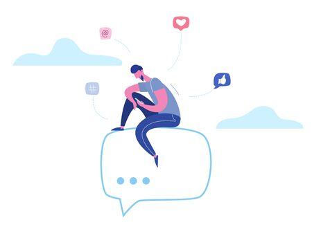 Vector concept man character chatting on phone in social media, network bubbles. Illustration design for web banner, marketing material, business presentation, online advertising