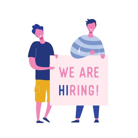 Happy people holding hiring banner, recruitment concept with people characters, agency interview, join our team. Template for web landing page, presentation, social media. Vector illustration 向量圖像