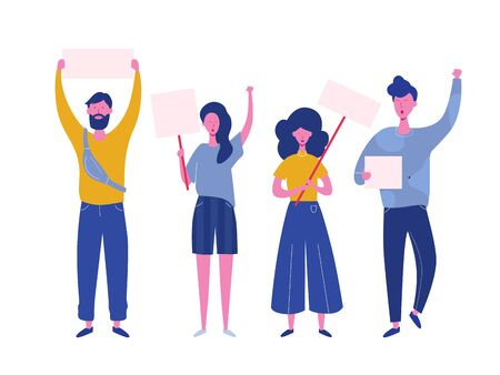 Crowd of protesting people holding banners and placards. Men and women characters on political meeting, parade or rally. Group of male and female protesters or activists. Vector illustration