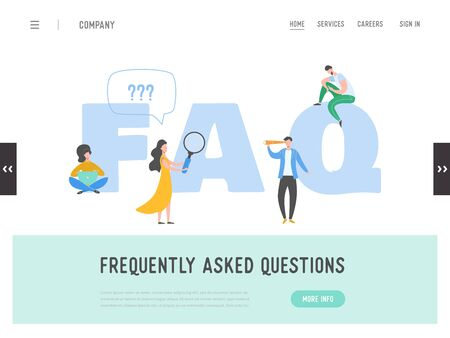 Landing page of Frequently asked questions concept. Question answer metaphor. Vector illustration background. Flat cartoon character people graphic design. Template banner, flyer, poster, web page