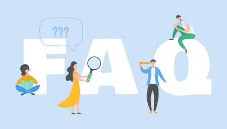 Frequently asked questions concept. Question answer metaphor. Иллюстрация