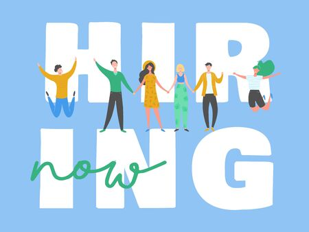 Happy people on hiring banner, recruitment concept with people characters, agency interview, join our team. Template for web landing page, presentation, social media. Vector illustration 向量圖像