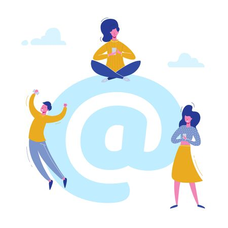Vector concept Email people characters chatting with phones on social media, sending mail. Illustration design for web banner, marketing material, business presentation, online advertising