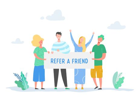 Refer a friend concept with banner and business character people holding sign, smiling man and woman illustration. Friendship, leadership, business team, social diversity concept in vector Vettoriali