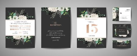 Set of Wedding Invitation, floral invite, thank you, rsvp rustic card design with gold foil decoration. Vector elegant modern template, trendy cover, graphic poster, retro brochure, design template