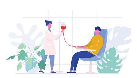 Volunteers Male Characters Sitting in Medical Hospital Chairs Donating Blood. Doctor Woman Nurse Take in Test Tube, Donation, World Blood Donor Day, Health Care. Cartoon Flat Vector Illustration Ilustração