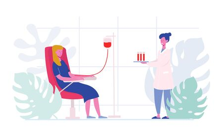 Volunteers Female Characters Sitting in Medical Hospital Chairs Donating Blood. Doctor Woman Nurse Take in Test Tube, Donation, World Blood Donor Day, Health Care. Cartoon Flat Vector Illustration Ilustração