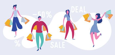 Set of people with Shopping Bags and Presents. Man and woman Characters, Big sale, Discount and Advertising Banner, Flyer, promo Poster Concept illustration in vector