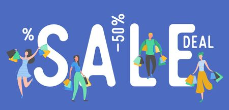 Set of people with Shopping Bags and Presents. Man and woman Characters, Big sale, Discount and Advertising Banner, Black Friday, Flyer, promo Poster Concept illustration in vector Illustration
