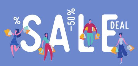 Set of people with Shopping Bags and Presents. Man and woman Characters, Big sale, Discount and Advertising Banner, Flyer, Black friday, promo Poster Concept illustration in vector