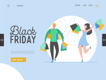 Concept of landing page on shopping theme, Black friday online Sale. Vector illustration for mobile website and web page design. Flat man and woman characters holding shopping