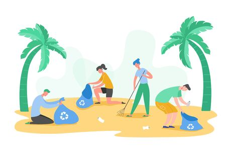 Set of Volunteer people characters gathering garbage and plastic waste for recycling