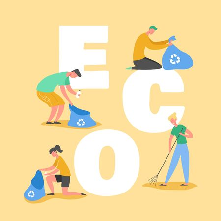 Ecology Protection Concept, People Collecting Trash on Beach. Save our Planet. Volunteers Clean Up Waste and Garbage Poster, Banner, Flyer, Brochure. Cartoon Flat Vector Illustration  イラスト・ベクター素材