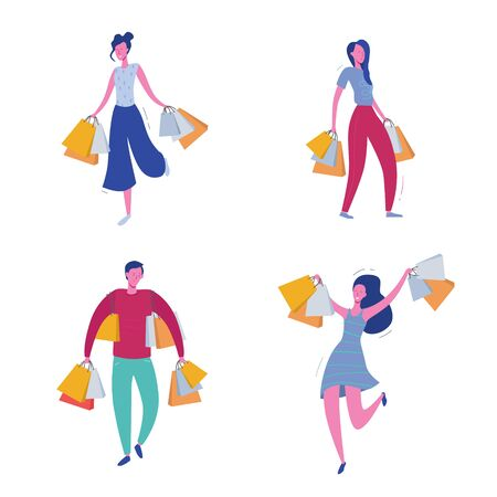 Set of people with Shopping Bags and Presents. Man and woman Characters, Big sale, Discount and Advertising Banner, promo Poster Concept illustration in vector Illustration