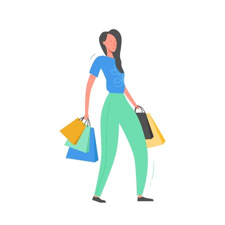 Woman with Shopping Bags and Presents. Person Characters, Big sale, Discount and Advertising Banner, promo Poster Concept illustration in vector