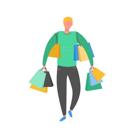 Man with Shopping Bags and Presents. Person Characters, Big sale, Discount and Advertising Banner, promo Poster Concept illustration in vector Illustration