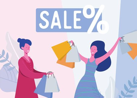 Set of people with Shopping Bags and Presents. Women Characters, Big sale, Discount and Advertising Banner, promo Poster Concept illustration in vector Illustration