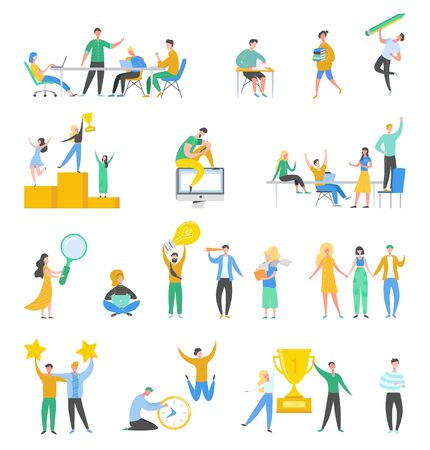 Collection of scenes at office. Set of men and women taking part in negotiation, business meeting, brainstorming, working, talking. Colorful vector illustration in flat cartoon style.