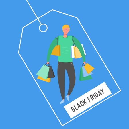 Man with Shopping Bags and Presents. People Characters, Big sale, Discount and Advertising Banner, Flyer, Black friday, promo Poster Concept illustration in vector