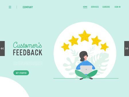 Landing page template review concept illustration. Woman character writing good feedback with gold stars. Customer rate services for website or web page. Five stars positive opinion. Vector