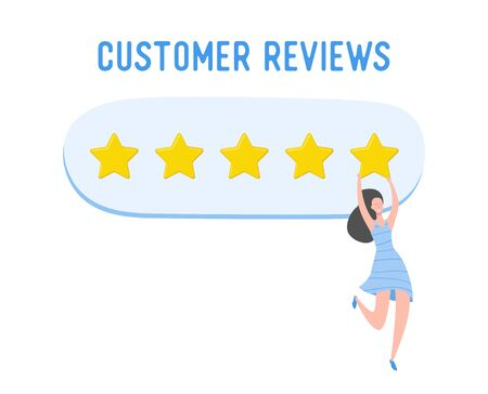 Review concept illustration. Woman character writing good feedback with gold stars. Customer rate services and user experience using laptop. Five stars positive opinion. Vector cartoon