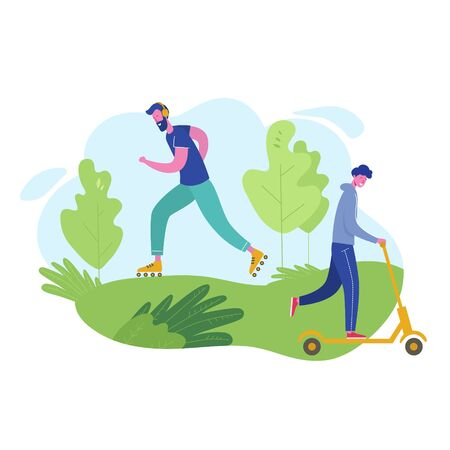 Group of people performing sports activities, leisure at park riding scooter, skiing. Characters man  doing outdoor workout. Flat cartoon vector illustration Illustration
