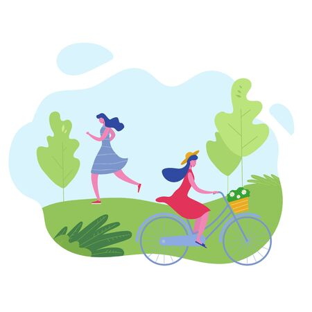Group of people performing sports activities, leisure at park jogging, riding bicycles. Characters woman doing outdoor workout. Flat cartoon vector illustration Illustration