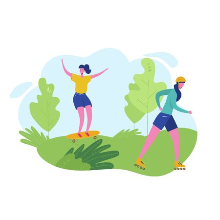 Group of people performing sports activities, leisure at park skiing, skateboarding. Characters woman doing outdoor workout. Flat cartoon vector illustration Illustration