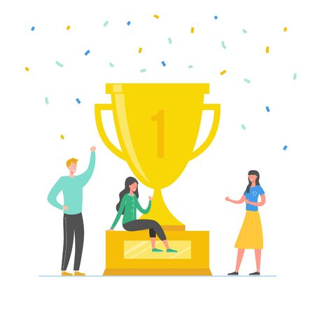 Team Success vector concept illustration. Business leader people celebrating victory. Man and woman achieving reward. Businessman and businesswoman winning trophy. Victory prize Illustration