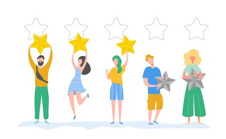 People characters holding gold stars. Men and women rate services and user experience. Juries rating in the competition. Three stars positive review, not good feedback. Vector cartoon illustration Illustration