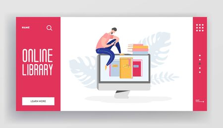 Online digital library landing page concept of people character reading books from reader, computer. Media library website template, ebook to study on e-library, web page illustration design. Vector Векторная Иллюстрация