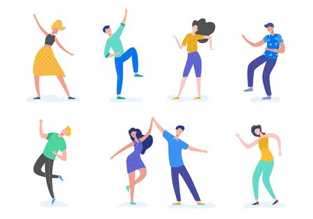 Group of young happy dancing people or male and female dancers isolated on white background. Smiling young men and women enjoying dance party. Vector illustration in flat cartoon style