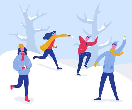 Winter Characters Playing Snowballs. Joyfull People Having Fun in Snow. Boys and Girls Throwing Snowball, Christmas holidays outdoor activities. Vector illustration