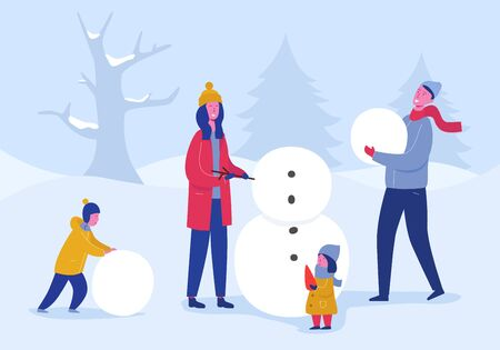 Xmas Party Card or Invitation Poster. Family of mom, dad, children building snowman, People characters celebrating Merry Christmas and Happy New Year night, Winter Season Holiday. Vector illustration