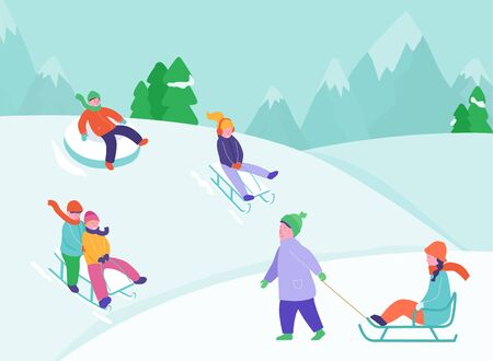Kids riding sledding slide. Snow landscape, winter snowy fun activities. Sled speed riding or children holiday sledge ride game activity vector illustration