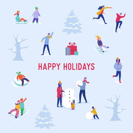 Xmas Party Card or Invitation Poster. People characters on sledges, making snowman, playing in snow, celebrating Merry Christmas and Happy New Year night. Vector illustration