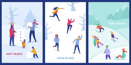 Set of Xmas Party Card or Invitation Poster. People characters on sledges, making snowman, playing in snow, celebrating Merry Christmas and Happy New Year night. Vector illustration