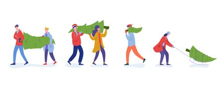 Bundle of people carrying, buying Christmas trees and celebrating winter holidays. Men, women characters, family do shopping for New Year celebration. Flat cartoon vector illustration
