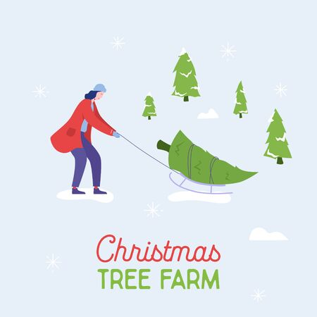 Sale banner of people carrying, buying Christmas trees and celebrating winter holidays. Women characters, family do shopping for New Year celebration Design template poster. Vector illustration Illustration