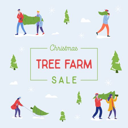 Sale banner of people carrying, buying Christmas trees and celebrating winter holidays. Men, women characters, family do shopping for New Year celebration Design template poster. Vector illustration